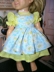 New-3-Pc-Yellow-Dress-Set-Dress-Daisy-Apron-18-034-Doll-clothes-fits-Ideal-Giggles
