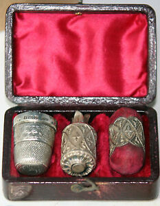 ANTIQUE-c1800-ETUI-STERLING-amp-LEATHER-GEORGIAN-set-TAPE-MEASURE-Thimble-amp-CUSHION