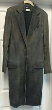 Ann Demeulemeester Gray Distressed Leather Military Jacket Coat Sz EU 38 US 6