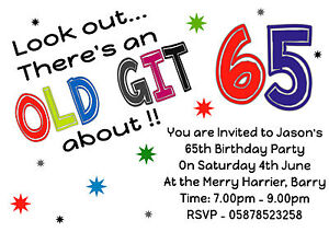 Image Is Loading FUN Personalised ALL AGES Birthday Party Invitations 40th