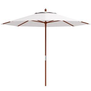 Adjustable-10FT-Wooden-Umbrella-Wood-Pole-Outdoor-Patio-Garden-Sun-Shade-Beige