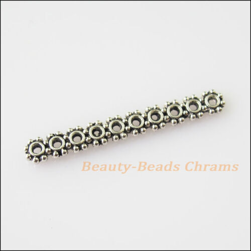 18Pcs Antiqued Silver Tone 10Holes Spacer Beads Bars Charms Connectors 4x31.5mm