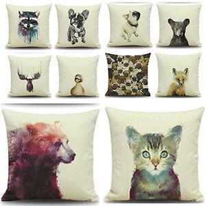 EG-Tier-Aufdruck-Baumwolle-Leinen-Uberwurf-Kissenbezug-Wohndeko-Exquisi