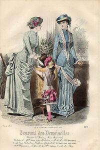 """110/ Gravure De Mode """" Journal Des Demoiselles """" 1882 Superbes Couleurs ! Avoir Une Longue Position Historique"""