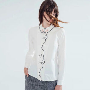 New Womens Ladies Animal Cat Embroidered White Long Sleeve Blouse Tops Shirt SML