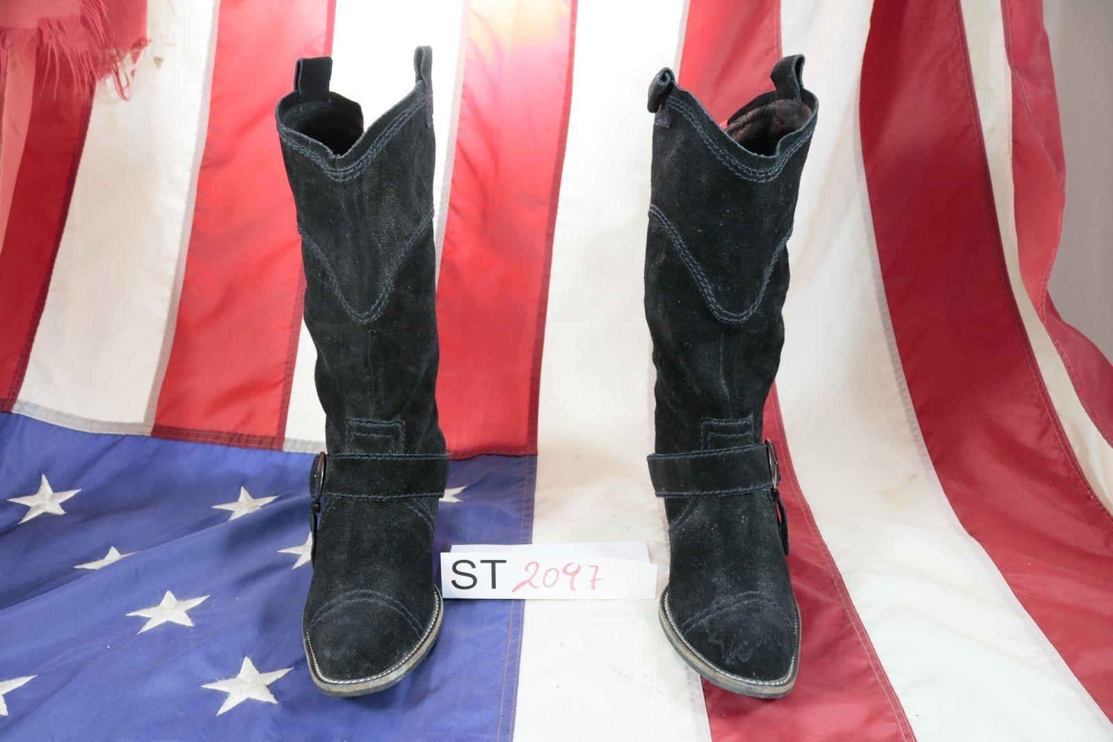 botas EDA (Cod. ST2097) USATO N.39 mujer mujer mujer nappa negro texani cowboy fashion  sorteos de estadio