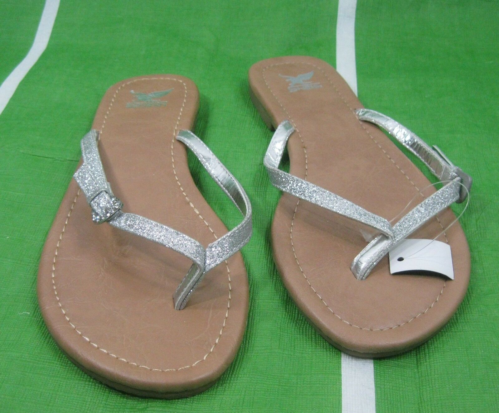 new lady Summer Shoes  glittery silver Womens Shoes Summer Slip On Flip Flop Sandals Size 6 7cbb13