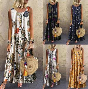 Womens-Plus-Size-Bohemian-O-Neck-Floral-Print-Vintage-Sleeveless-Long-Maxi-Dress