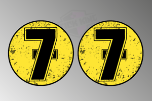 2 X Barry Sheene #7 Classic Retro Oval Race Numbers Stickers//Decals Motorbike