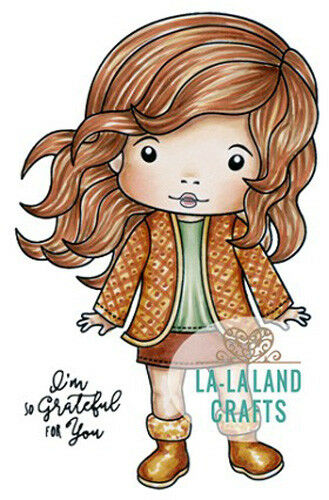 New La La Land Crafts AUTUMN MARCI Rubber Stamp Girl Fall Greatful Happy Thanks