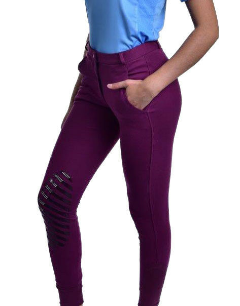 Ladies Silicone Knee Patch Natural Rise Cotton Breeches
