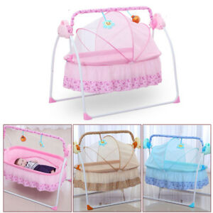 Smart Electric Baby Crib Music Cradle Infant Rocker Auto-Swing Sleep ... da0355234
