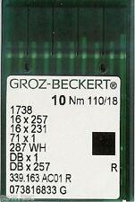 """GROZ BECKERT AGHI PER MACCHINE DA CUCIRE INDUSTRIALI 16x231 DBX taglia 18""""/110"""