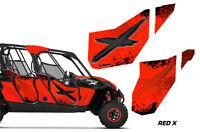 Amr Racing Graphic Wrap Kit Canam Maverick 4 Door Utv Doors Decal Parts - Red X