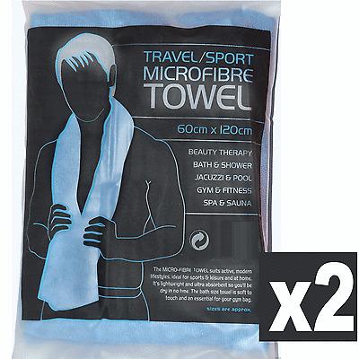 2 x Microfibre Towels Large 60 x 120cm Large Sports Micro-Fibre  Travel
