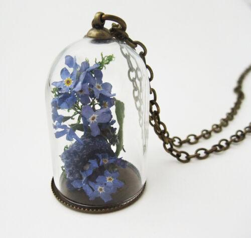 0016 Kette *Vergissmeinnicht* echte Blüten Einzelstück Blumen Halskette