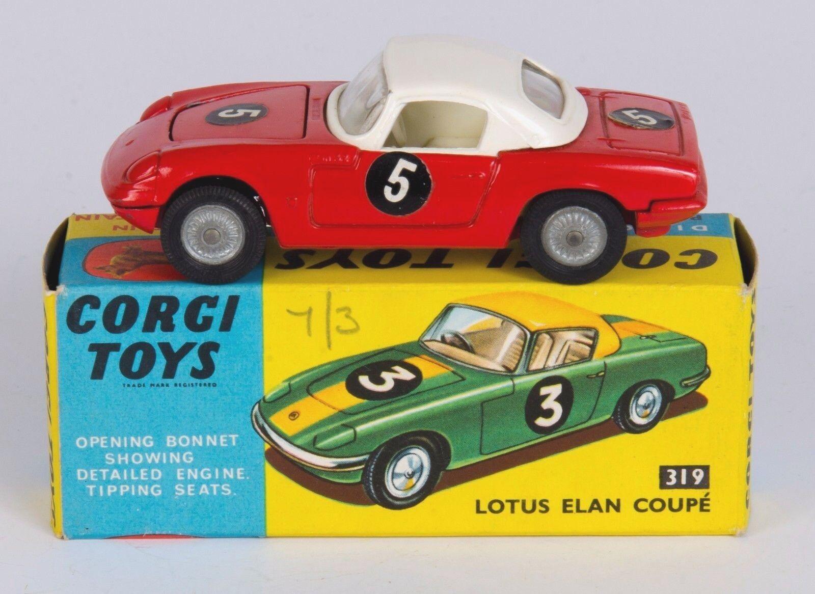 CORGI 319 lotus elan coupé hard hard hard top. RARE Rouge/Blanc. VNMINT/Boxed. Années 1960 | Design Attrayant  60172a