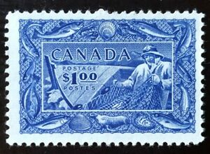 CANADA 1951 #302 - $1 BRIGHT ULTRAMARINE - FISHING RESOURCES  -  VF MNH