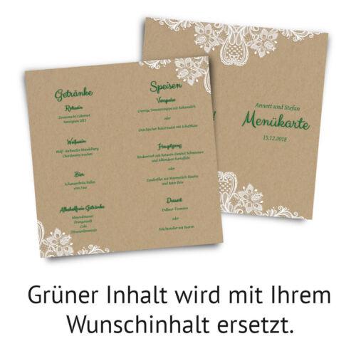Rustikal Kraftpapier Look DIN Lang Hochzeit Menükarten Menü Speisen Getränke