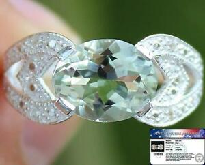 2-60-Cts-Natural-Green-AMETHYST-amp-White-TOPAZ-925-Sterling-Silver-RING-S7-5