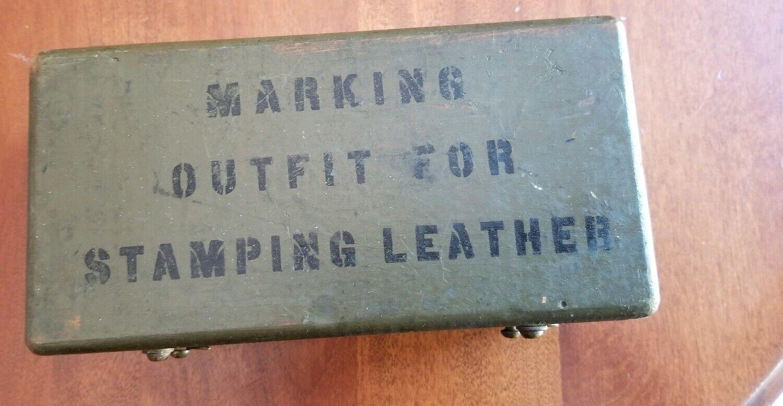 Klassische Lederwerkzeuge Stamp Set Alphabet Numbers US Calvary W2