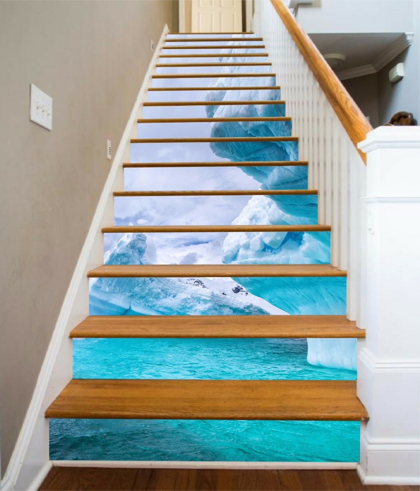 3D Sky wave 7 Stair Risers Decoration Photo Mural Vinyl Decal Wallpaper UK
