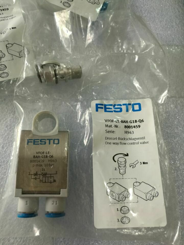 FESTO 8001459 VFOF-LE-BAH-G18-Q6 ONE-WAY FLOW CONTROL VALVE SUPPLIED IN PACK OF 1