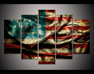 Modern-Abstract-Oil-Painting-Wall-Decor-Art-Huge-large-Retro-American-flag
