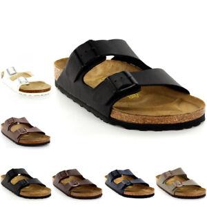 Details about Mens Birkenstock Arizona Leather Buckle Summer Holiday Beach Sandals UK 6 13