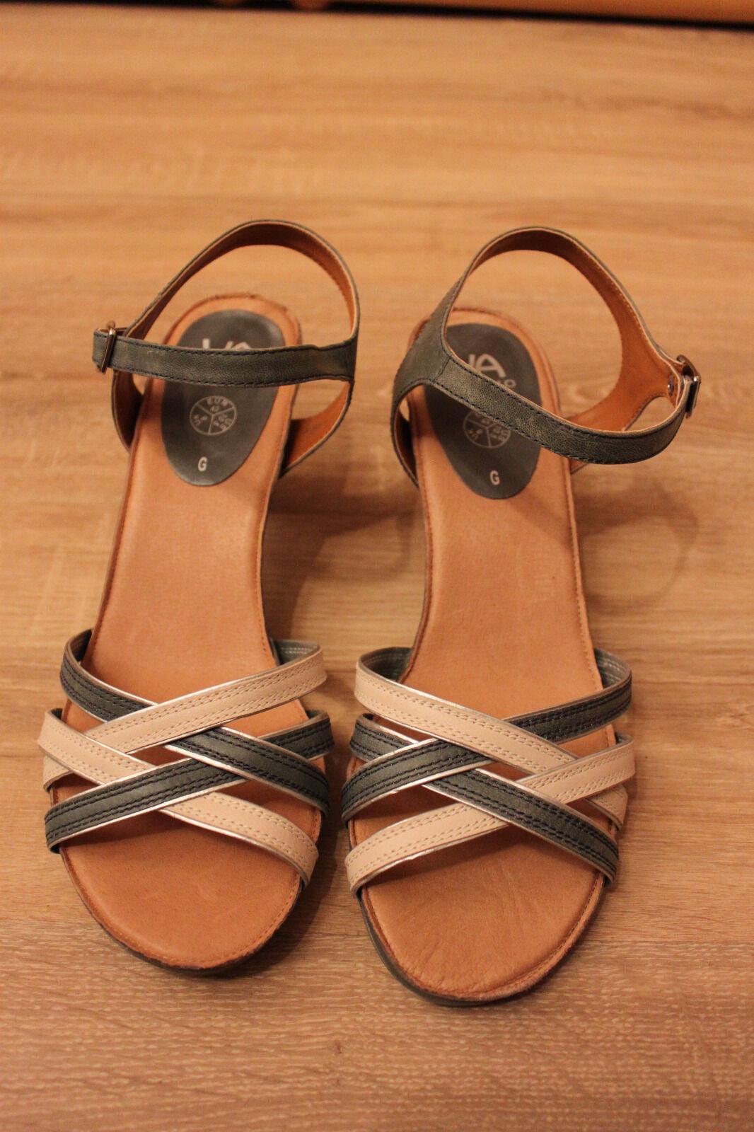 VIA MILANO Riemchen-Sandaleette, echt Leder, Zierschnalle, Absatz ca. 6 cm, Gr 8