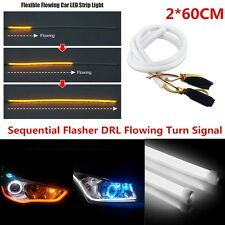 2pcs 60cm DRL Flowing Sequential DRL Strip Light Daytime Running Turn Signal LED