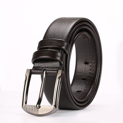 Mens Luxury Genuine Leather Waist Belt Waistband Strap Smooth Girdle Buckle