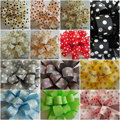 15mm A Pois/dotty/a Pois Grosgrain Nastro Berisfords-nastro Stampato-artigianato-olka Dot Grosgrain Ribbon-berisfords-printed Ribbon-crafts It-it