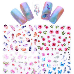 Dream-Catcher-3D-Nail-Stickers-Flower-Cactus-Birds-Nail-Art-Decals-Tips