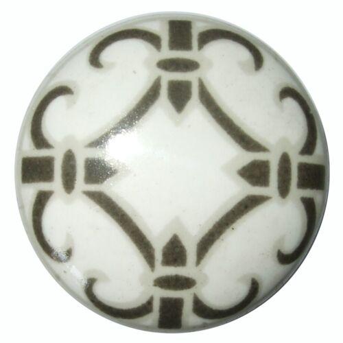 Vintage Shabby Chic Noir Blanc Boutons de Porte Céramique pour Placard