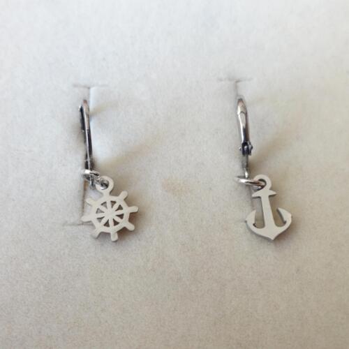 Men/'s Femme Boucles d/'oreilles Créoles Stailess steel avec ancre et gouvernail suspendu 337 AA