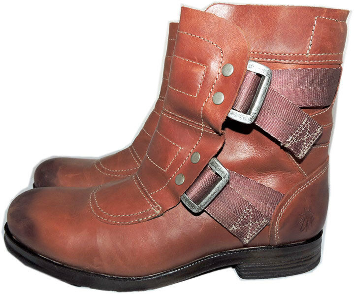 Fly London Seli 700Fly Combat Leather  Motorcycle Boots Biker Buckles Booties 41