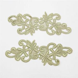 1Pair-Gold-Floral-Motif-Lace-Trim-Bridal-Dress-Applique-Sewing-Craft-DIY-Decor