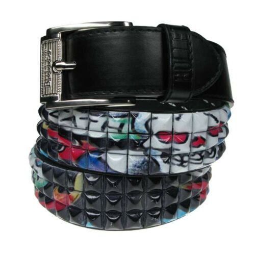40mm Pyramid Studded Printed Design Removable Buckle Belt For Mens Womens