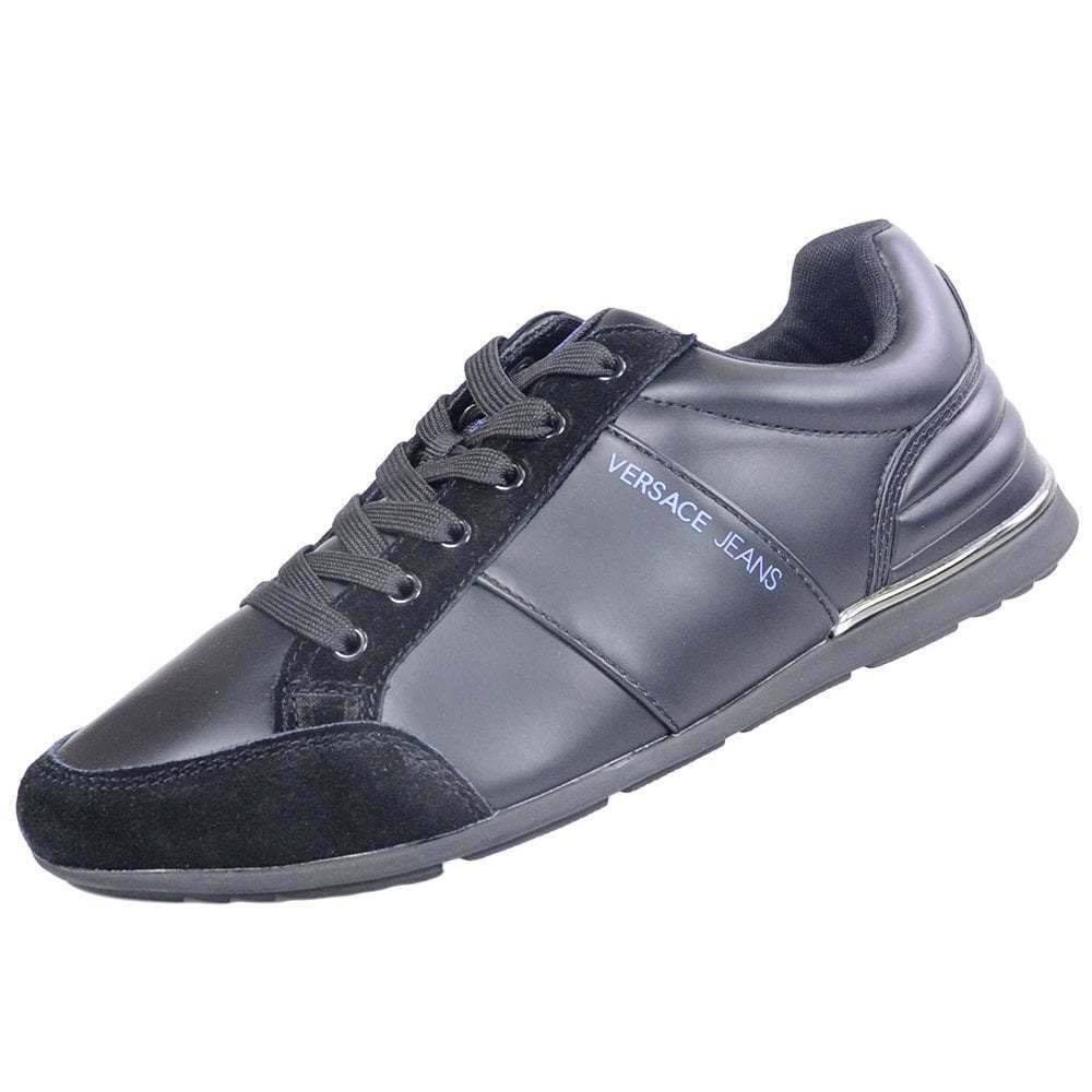 Versace Jeans Leather Suede Black Trainers