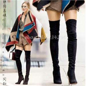 Wildleder-Overkneestiefel-Damen-Stilettoabsatz-Boots-Europa-Stiefel-Gr34-45-Spit
