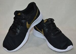 Nike-Tanjun-GS-Black-Gold-White-Girl-039-s-Running-Shoes-Size-4-5-5-6-6-5-7Y-NWB
