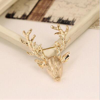 Unisex Animal Collar Brooch Pin Clip Cute Deer Antlers Head Pins Brooches SEAU