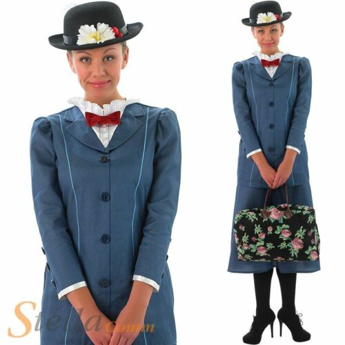 Ladies Mary Poppins Costume /& Hat Victorian Nanny Book Week Fancy Dress Outfit