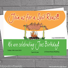 Spit Roast Pig BBQ Invites Adults Birthday Party Invitations x 12 +envs H0558