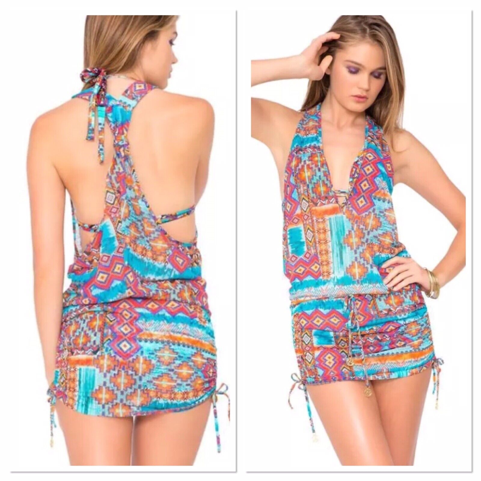 NWT S LULI FAMA Wild och fri Sexy Tribal badkläder Cover Up Festival Minidress
