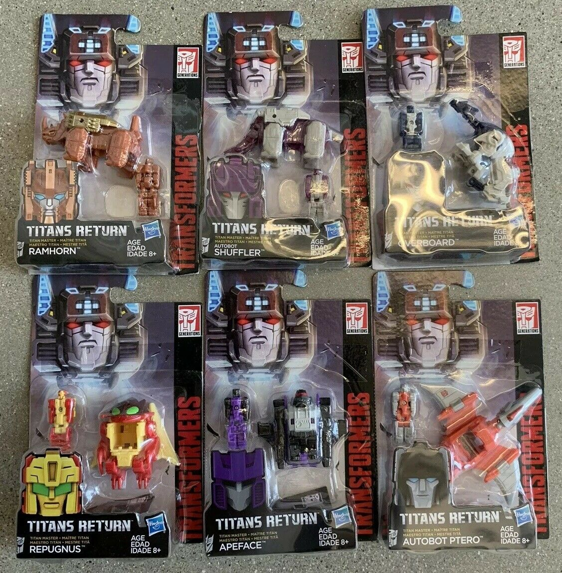 6x Transformers Generations Titans Return Head Master REPUGNUS RAMHORN SHUFFLER