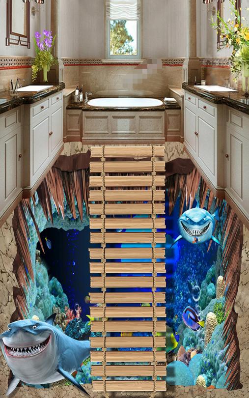 3D Shark Ocean World 74 Floor WallPaper Murals Wall Print Decal AJ WALL CA Carly