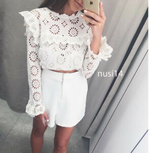 4a2722fb2475d5 ZARA NEW DIE-CUT EMBROIDERED BLOUSE TOP SHIRT RUFFLED OFF-WHITE XS ...