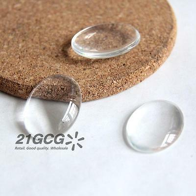 10pcs Clear Oval Glass Cabochon Dome Flat Back Crystal Magnify Base Cover #013